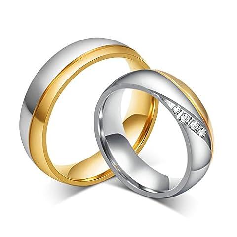 JSFYOU 1 Pair Vergoldet Ringe für Frauen Männer Cubic Zirkonia Inlay Hochzeitsband Verlobungsring Partnerringe Damen Gr. 60 (19.1) & Herren Gr. 70 (22.3)