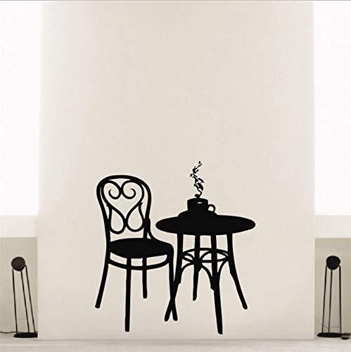 HLZLA Coffee Shop Vinyl Wandtattoo Kaffee Tee Cafe Restaurant Wanddekoration Tisch Stuhl Wandbild Kunst Wandaufkleber 56x87 cm