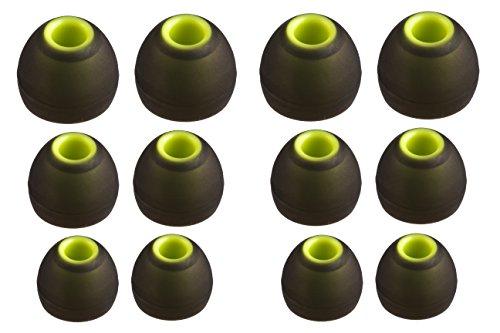 XCESSOR (S/M/L) 6 Paar (12 Stück) Silikon-Ersatz-Ohrhörer S/M/L Größe Ohrhörer Ersatz-Ohrstöpsel für Beliebte in-Ear-Kopfhörer. Schwarz/Grün thumbnail