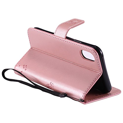 Protective Case Cover for iPhone X,iPhone X Coque PU Leather,iPhone X Neo Case,Hpory élégant Retro PU Cuir Cover Case Book Style Folio Flip Up Stand Fonction Support PU Leather Walllet Case with Credi 20#
