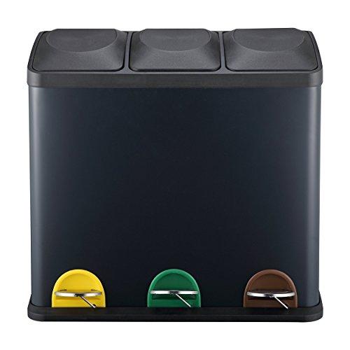 Mari home grande cestino spazzatura | cestino per rifiuti triplo | contenitore con 3 scomparti 54l (18l x 3) | ottimo per cucina, ufficio e casa | cestino per la spazzatura con pedali | opaco nero