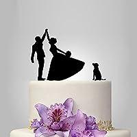 Highfive Wedding Cake Topper con sposa e sposo Silhouette con Labrador, decorazione per torta di matrimonio con cuore