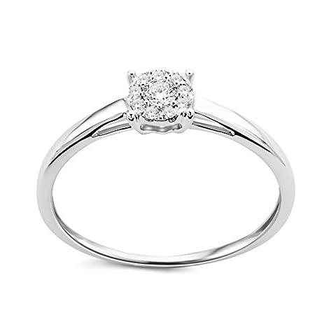 Diamada Femme or blanc en diamant solitaire bague 9kt (375) brillant 0.1cts