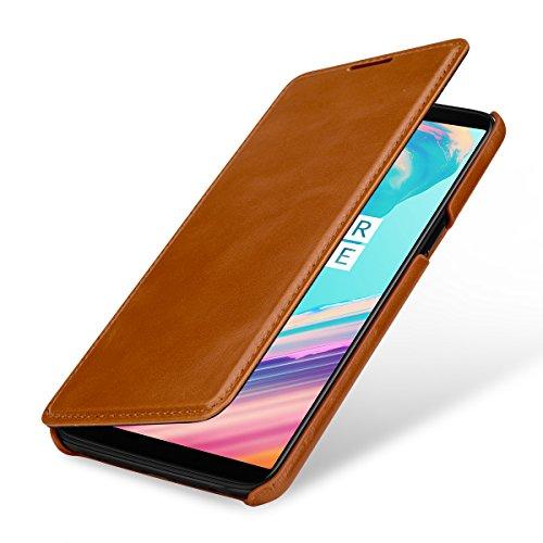 StilGut Book Type Case, Hülle Leder-Tasche für OnePlus 5T. Seitlich klappbares Flip-Case aus Echtleder für das OnePlus 5T, Cognac