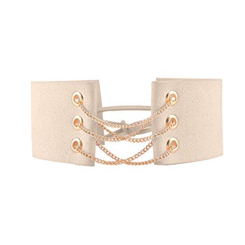 Frauen Ideen Kostüme (YAZILIND Frauen Charming Beige Idee Weit Flanell-Kragen-Halskette)