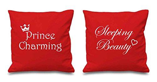Prince Charmant la Belle au bois dormant Rouge Housses de coussin 40,6 x 40,6 cm Couples Coussins Saint-Valentin anniversaire Boyfriend Girlfriend Chambre à coucher Coussin décoratif Maison