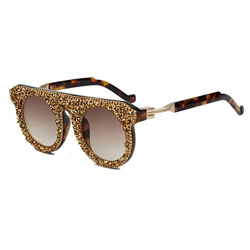 Taiyangcheng Polarisierte Sonnenbrille Sonnenbrille Strass Sonnenbrille Frauen Vintage Marke Runde Sonnenbrille Flat Top Männer Steampunk Shades Für Frauen,braun