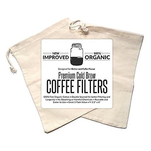 Kalten Brew Kaffeemaschine Filter Premium Bio Baumwolle Nussmilchbeutel wiederverwendbar 24,1x 15,2cm–2Pack
