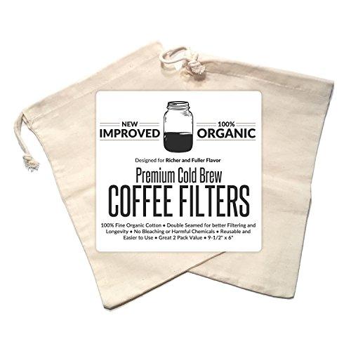 Primo Cappuccino-maschine (Kalten Brew Kaffeemaschine Filter Premium Bio Baumwolle Nussmilchbeutel wiederverwendbar 24,1x 15,2cm–2Pack)