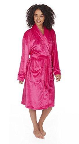 Dames Uni Hiver Blottir Col Châle Robe De Chambre / Robe. Petit - 4XL Rose vif