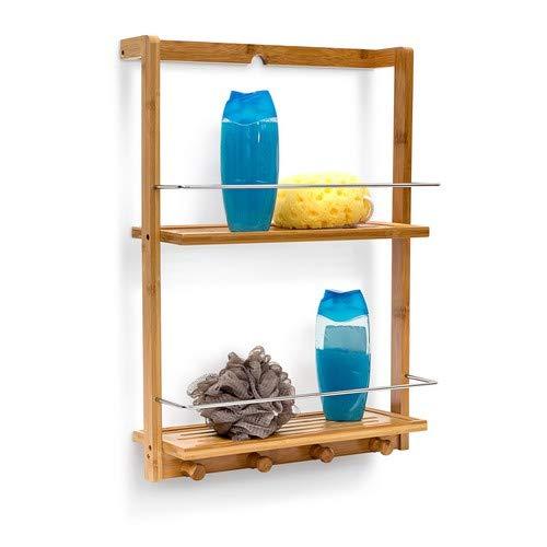 Relaxdays 10019190 Estantería para la Ducha de bambú con 2 baldas...