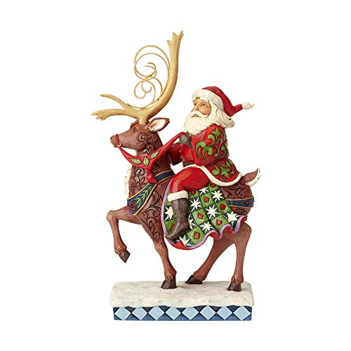 Heartwood Creek Santa Riding Reindeer Figurine -