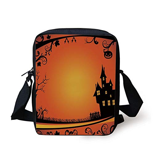 with Curvy Tree Branches Swirls Leaves Gothic Castle Festival Decorative,Orange Yellow Black Print Kids Crossbody Messenger Bag Purse ()