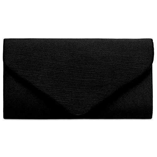 Schwarze Clutch (Caspar TA500 elegante Damen Envelope Satin Clutch Tasche Abendtasche, Farbe:schwarz, Größe:Einheitsgröße)