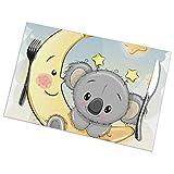 Tovagliette Set di 6 Simpatiche tovagliette Koala sulla Luna Resistenti al Calore per Tavolo da Pranzo Tappetini per Tavolo da Cucina da Esterno per Interno 12X18 Pollici