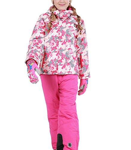 Mädchen Kinder Skianzug Skijacke Skihose Regenlatzhose Verdickung Lang Jacket Wintermantel Mantel(Keine Handschuhe) (Rosa, 116/122( Etikett 120))