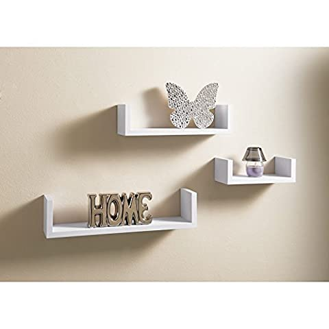 Set Of 3 U Shaped Wall Mountable Wooden Floating Shelve Shelf White Storage by AJ