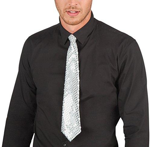 Boland 52952 - Krawatte Spangles, Circa 40 cm, Silber