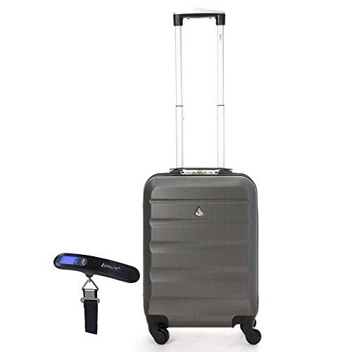 Aerolite Leichtgewicht ABS Hartschale 4 Rollen Handgepäck Trolley Koffer Bordgepäck Kabinentrolley Reisekoffer Gepäck , Genehmigt für Ryanair , easyJet...