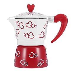 Idea Regalo - Caffettiera, Caffettiera Moka Espresso in Lega Di Alluminio, Cuore Rosso Stampato, Stufa Caffettiera Per Ufficio a Casa(L)