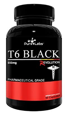 T6 Black Edition Fat burners 90 Capsules (Extreme fat loss diet aid, appetite suppressant, increased energy alertness and better mood) from Pure Labs