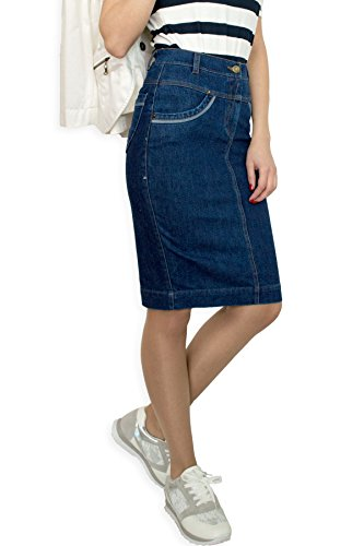 Damen Freizeit Rock Bleistift Boutique Knielang Blau Denim Jeans Größe EU 36 38 40 42 44 46 48 50 (50) (Denim-bleistift-rock Bleistift)