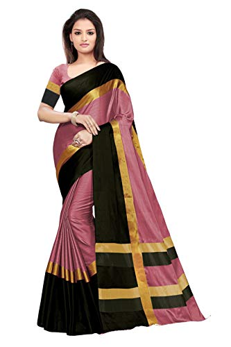 BEST COLLECTION Women's Art Silk Saree with Blouse Piece, Free Size (Siji_1Peach_Black)
