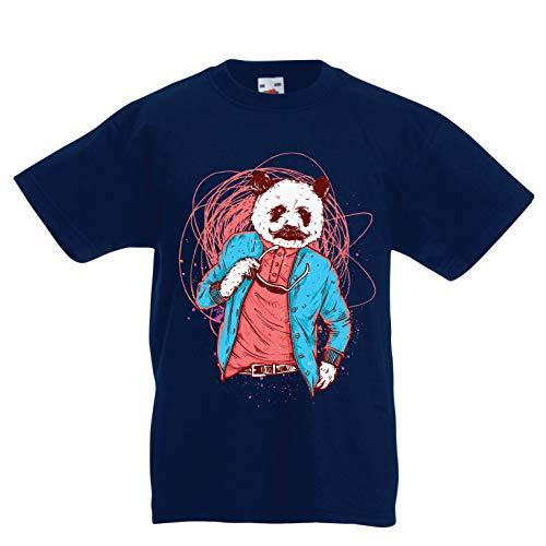 en/Mädchen T-Shirt Schicker Pandabär - Coole Grafik, Swag Mode (7-8 Years Dunkelblau Mehrfarben) ()