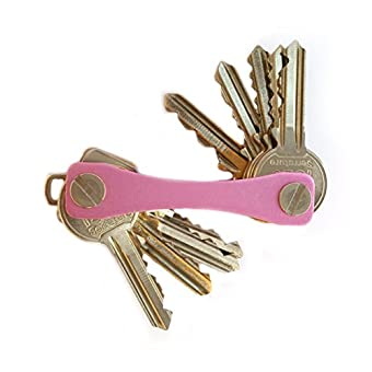 Schlüsselanhänger Key Holder Compact Taschenformat und beständig Schlüsselanhänger Schweizer Boxcutter Stil Organizer Platz für bis zu 10 Tasten (Rosa)