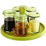 LIUBING Set de caja de condimentos Cacerola de condimentos Cacerola de condimentos de cocina Cacerola de sal Cacerola de condimentos Cacerola de botella Cacerola de condimentos de vidrio ( Diseño : A )