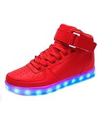 (Presente:peque?a toalla)Blanco EU 45, Adolescentes Adultos zapatillas unisex Led arriba del los roja transpirable del alto para moda top la y luz de J