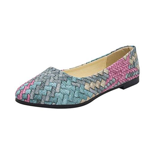 Damen Flache Schuhe,Klassische Ballerinas Mode Elegant Mädchen Mischfarben Weben Freizeitschuh-Frau-Recht Flache Schuhe für Alle Jahreszeiten (CN:35/EU:34, Frisches Grün)