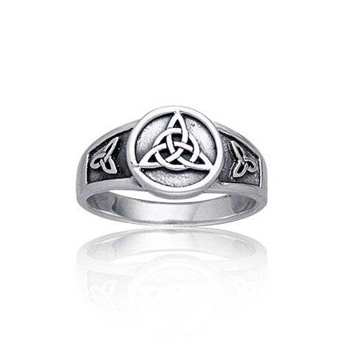 Viking Keltisch Trinity Knot Triquetra Ringe Siegelring Für Damen Für Herren 925 Sterling Silber Oxidiert