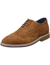 DADAWEN - Zapatos de cordones de Piel para hombre Marrón marrón