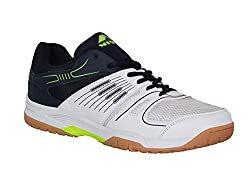 Nivia Gel Verdict Mens White and Blue Synthetic Leather Badminton Shoes - 10