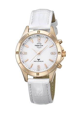 Master Time mtla-10340–11L–Damen Armbanduhr, Lederband Farbe Weiß