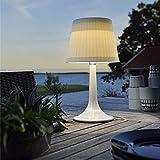 Solar-Esstisch-Lampe, weiße Kunststoff-Lampe, mit cremefarbenem Lampenschirm Modern weiß