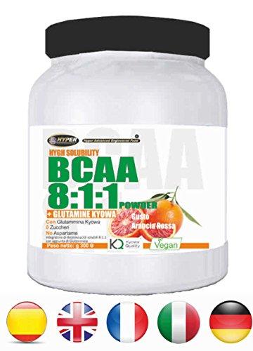 Bcaa 8:1:1 in polvere 150gr aminoacidi con glutammina kyowa gusto arancia | 0,15 gr per dose di carboidrati | no zuccheri no aspartame aumento massa muscolare favorisce il recupero muscolare