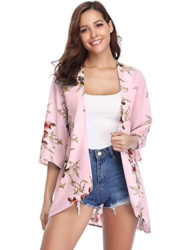 d7c839a89d3f6 Aibrou Women's Floral Kimono Cardigans,3/4 Sleeve Tops Loose Floral Blouse  Casual Boho