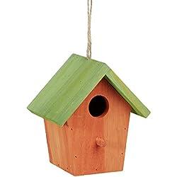 Relaxdays colorido Deco casa para pájaros, de madera, comedero para pájaros, para colgar decoración de primavera, HxWxD: 16x 15x 11cm, color naranja/verde