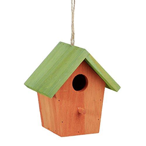 Relaxdays Maison à Oiseaux nichoir perchoir en Bois coloré à Suspendre HxlxP: 16 x 15 x 11 cm, Orange/Vert