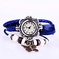 Blue Elegant Red Butterfly Leather Style Watch For Females
