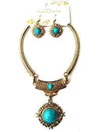 Trendy Tibetan Style Necklace Earrings Set Tribal Antique Jewellery For Women And Girl