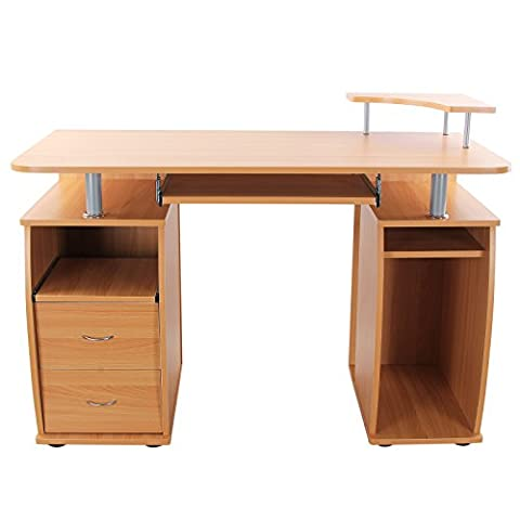 Etagere Melamine Hetre - Songmics Bureau Informatique Table de l'ordinateur avec
