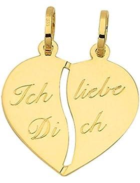 Herz Partner Freundschaftsanhänger Anhänger Kettenanhänger aus 333 Gold 8 Karat