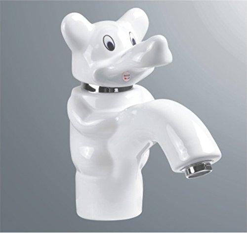 Bijjaladeva cascada grifo del fregadero del bañoMezclador de lavabo de cerámica de elefante de dibujos animados Grifos monomando lavabo blanco cuenca arte