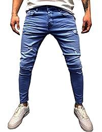 Lanceyy Pantalon Jeans Bleu Long Vintage Décontracté Slim Pantalon Style  Simple Denim Denim Homme avec Poches 84e466a3d725