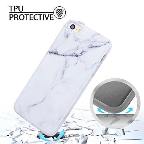 iphone 5s Hülle, Marmor Design Muster TPU Dünn Silikon Schutzhülle für iphone 5 / 5s / SE , E-lush Kristallklar Durchsichtig Kratzfeste Handyhülle Ultra Chic Thin Weich Schutzhülle Rückschale Etui Bum grau-weiß