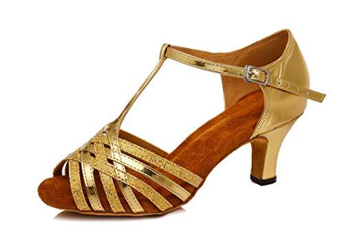 MGM-Joymod Damen Tanzschuhe mit T-Riemen, Mittelabsatz, Synthetik, Salsa Tango, lateinische Charaktere, Gold - Gold/6cm Heel - Größe: 38 EU
