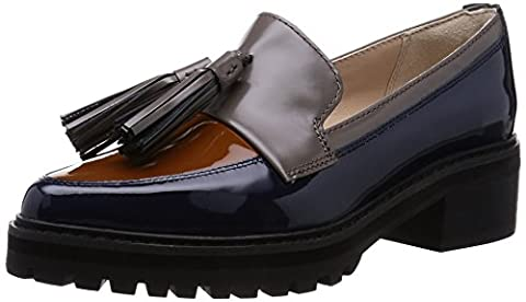 Clarks Womens Casual Clarks Anniston Vale Leather Shoes In Navy Combi Standard Fit, blue - blue, 6.5 UK